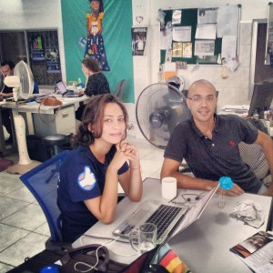 Jeannette and Sebastien from CYTI, in the FI Office Phnom Penh.
